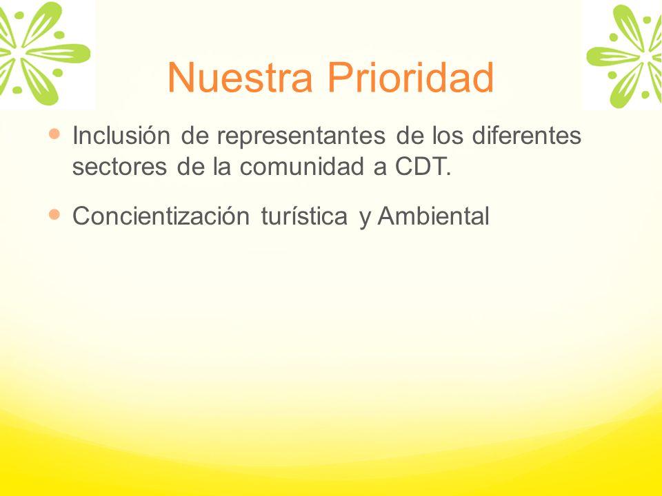 Nuestra Prioridad Inclusión de representantes de los diferentes sectores de la comunidad a CDT. Concientización turística y Ambiental