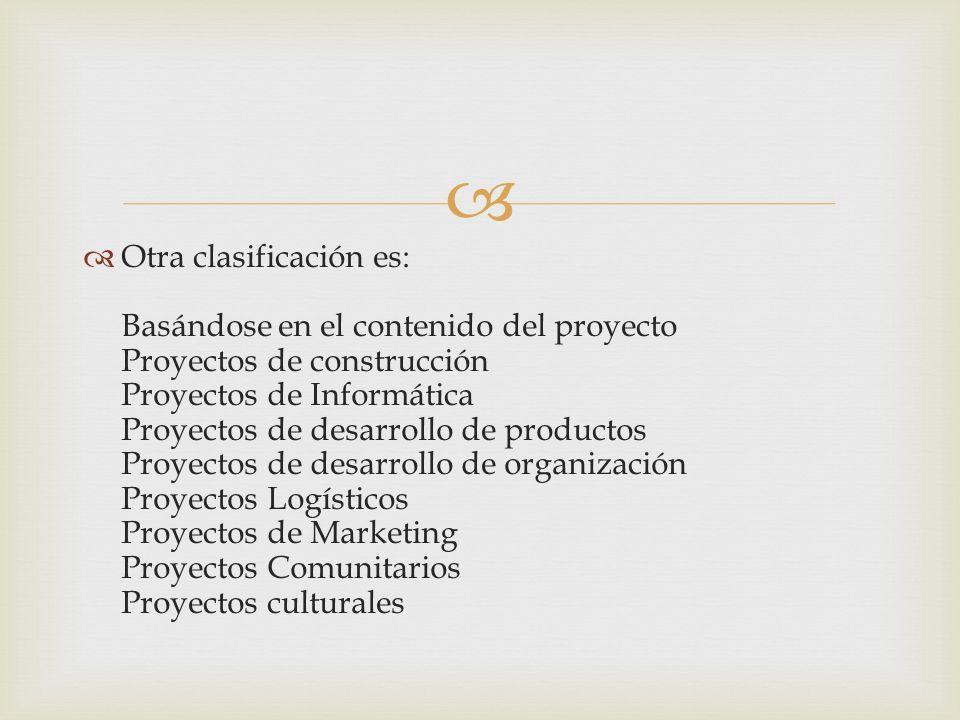 Otra clasificación es: Basándose en el contenido del proyecto Proyectos de construcción Proyectos de Informática Proyectos de desarrollo de productos