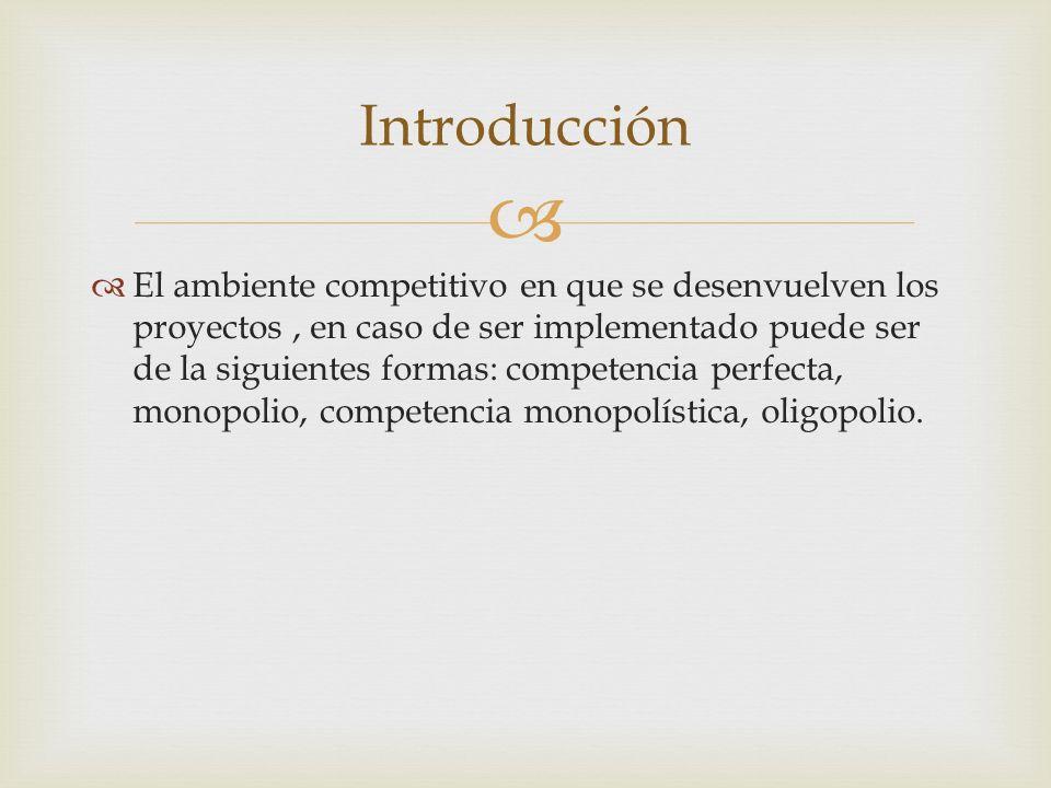 El ambiente competitivo en que se desenvuelven los proyectos, en caso de ser implementado puede ser de la siguientes formas: competencia perfecta, monopolio, competencia monopolística, oligopolio.