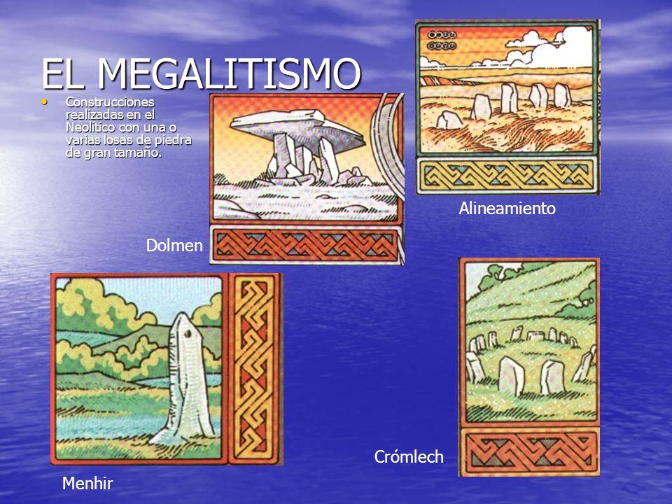 EL MEGALITISMO Construcciones realizadas en el Neolítico con una o varias losas de piedra de gran tamaño. Construcciones realizadas en el Neolítico co
