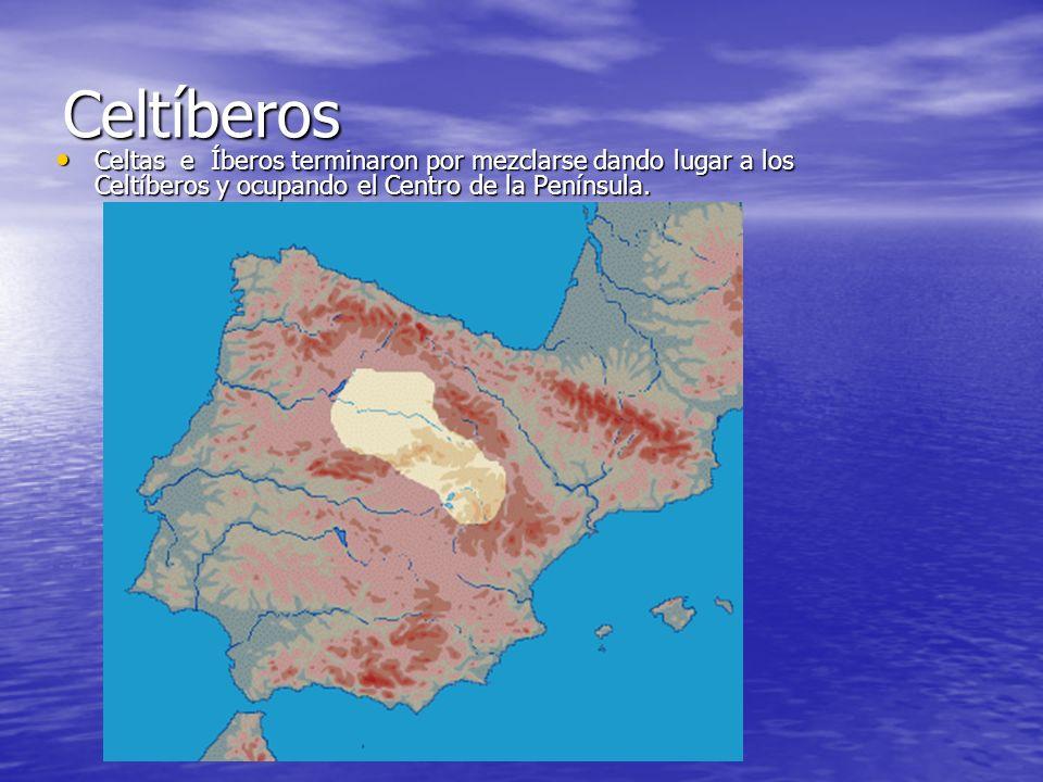Celtíberos Celtas e Íberos terminaron por mezclarse dando lugar a los Celtíberos y ocupando el Centro de la Península. Celtas e Íberos terminaron por