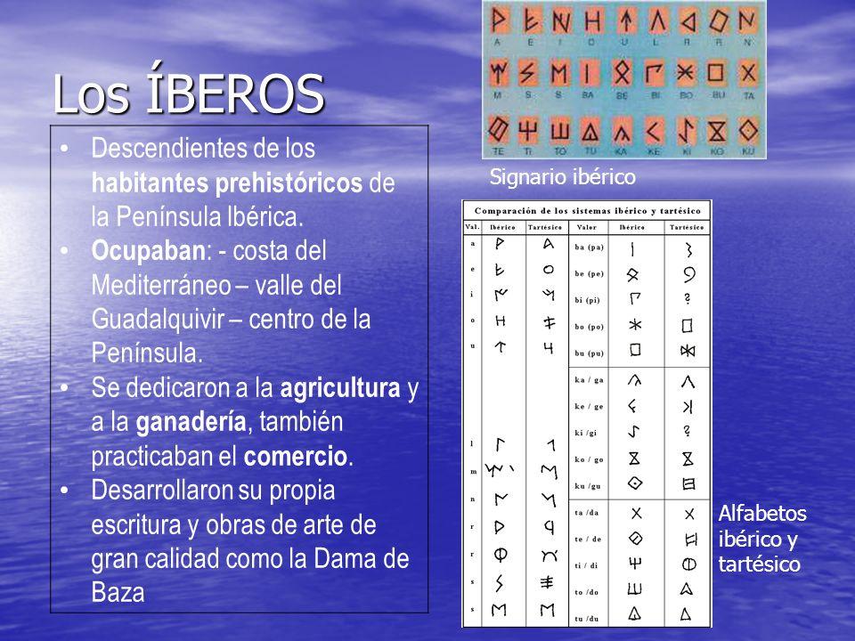 Los ÍBEROS Descendientes de los habitantes prehistóricos de la Península Ibérica. Ocupaban : - costa del Mediterráneo – valle del Guadalquivir – centr