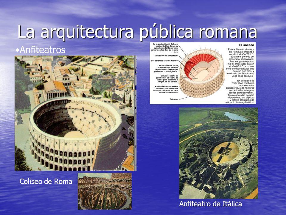 La arquitectura pública romana Anfiteatros Coliseo de Roma Anfiteatro de Itálica