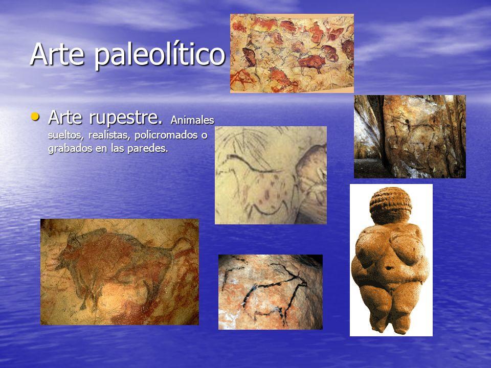 Arte paleolítico Arte rupestre. Animales sueltos, realistas, policromados o grabados en las paredes. Arte rupestre. Animales sueltos, realistas, polic