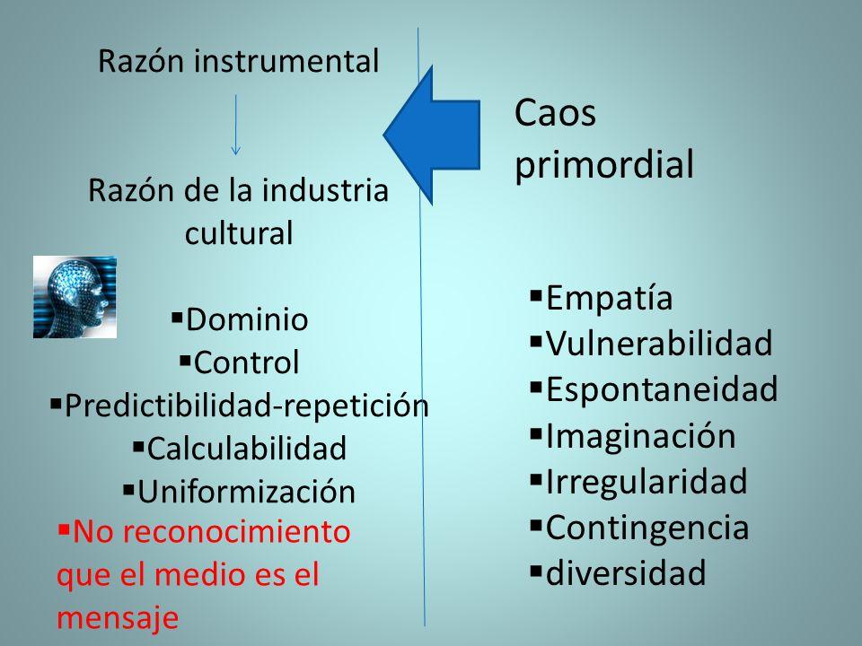 Razón instrumental Razón de la industria cultural Dominio Control Predictibilidad-repetición Calculabilidad Uniformización Empatía Vulnerabilidad Espo
