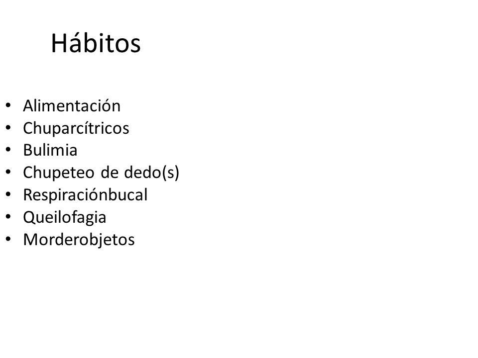 Hábitos Alimentación Chuparcítricos Bulimia Chupeteo de dedo(s) Respiraciónbucal Queilofagia Morderobjetos