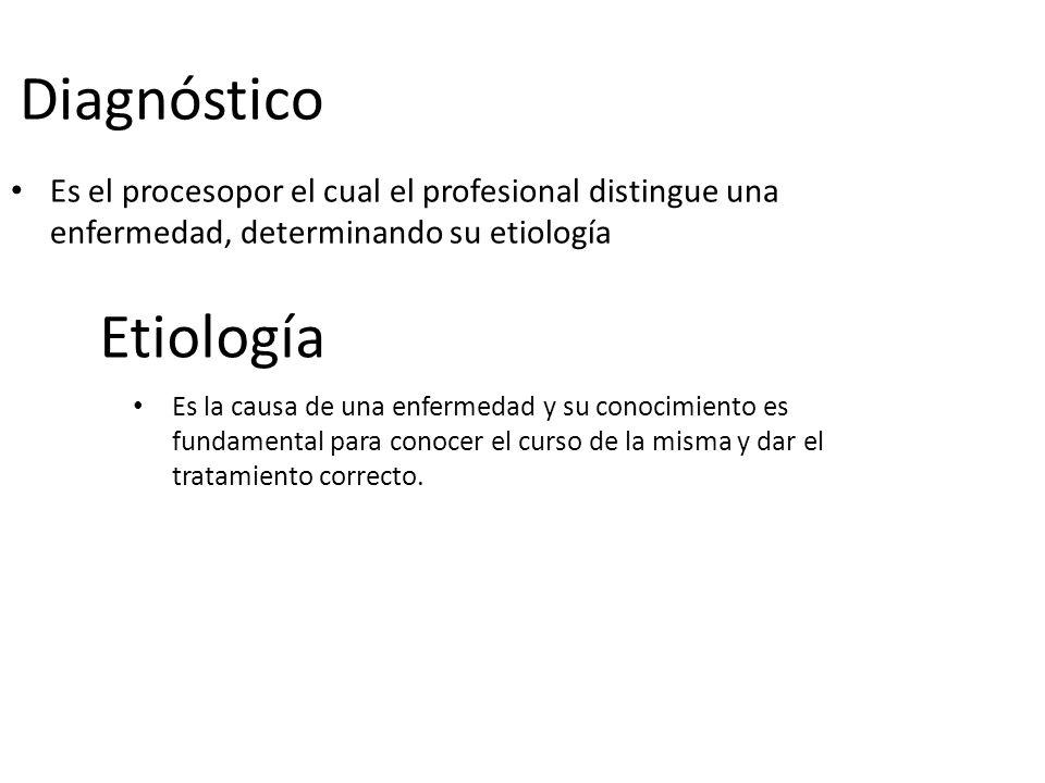 Diagnóstico Es el procesopor el cual el profesional distingue una enfermedad, determinando su etiología Etiología Es la causa de una enfermedad y su c