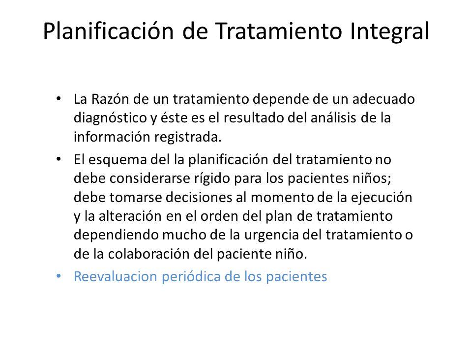 Planificación de Tratamiento Integral La Razón de un tratamiento depende de un adecuado diagnóstico y éste es el resultado del análisis de la informac