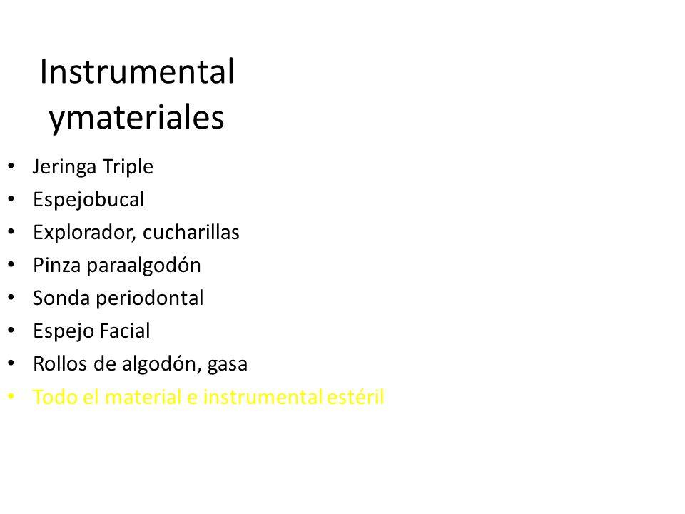 Instrumental ymateriales Jeringa Triple Espejobucal Explorador, cucharillas Pinza paraalgodón Sonda periodontal Espejo Facial Rollos de algodón, gasa