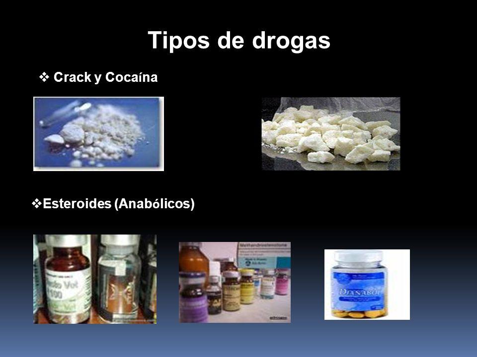Tipos de drogas Crack y Coca í na Esteroides (Anab ó licos)