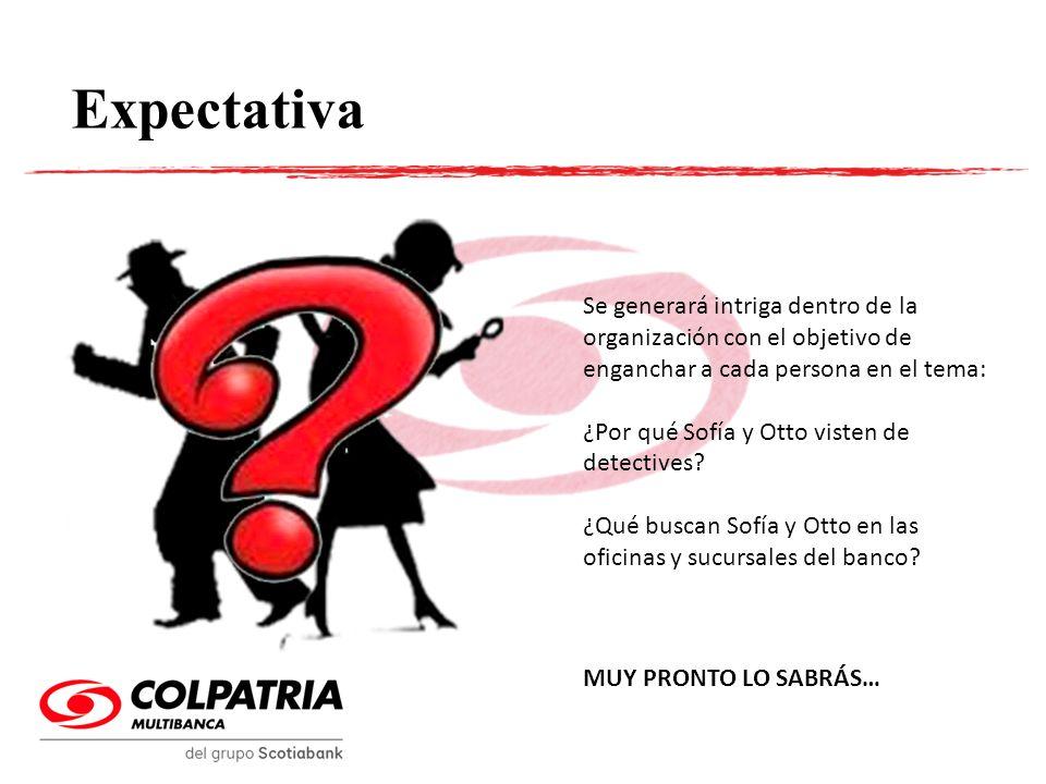 Expectativa Se generará intriga dentro de la organización con el objetivo de enganchar a cada persona en el tema: ¿Por qué Sofía y Otto visten de dete