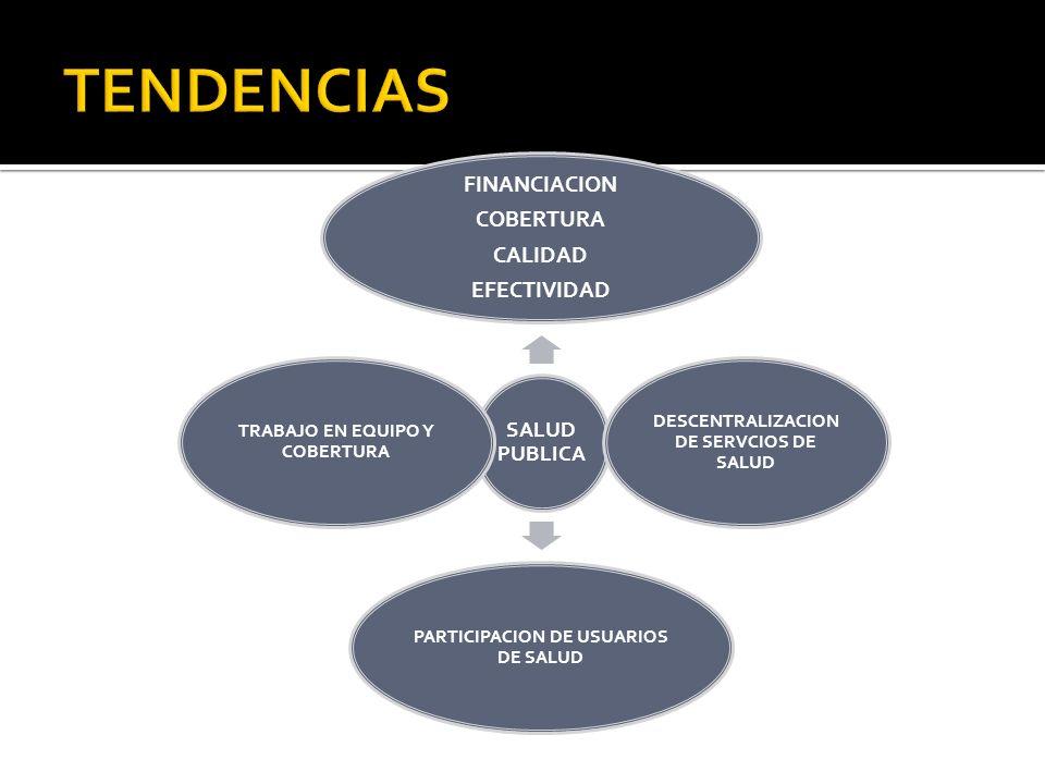 SALUD PUBLICA FINANCIACION COBERTURA CALIDAD EFECTIVIDAD DESCENTRALIZACION DE SERVCIOS DE SALUD PARTICIPACION DE USUARIOS DE SALUD TRABAJO EN EQUIPO Y
