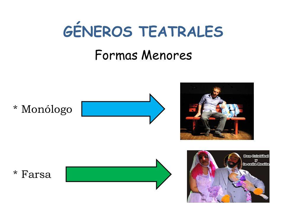 GÉNEROS TEATRALES Formas Menores * Monólogo * Farsa