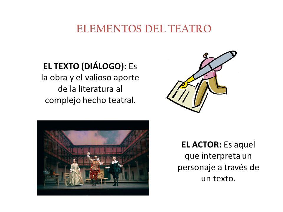 ELEMENTOS DEL TEATRO EL TEXTO (DIÁLOGO): Es la obra y el valioso aporte de la literatura al complejo hecho teatral. EL ACTOR: Es aquel que interpreta