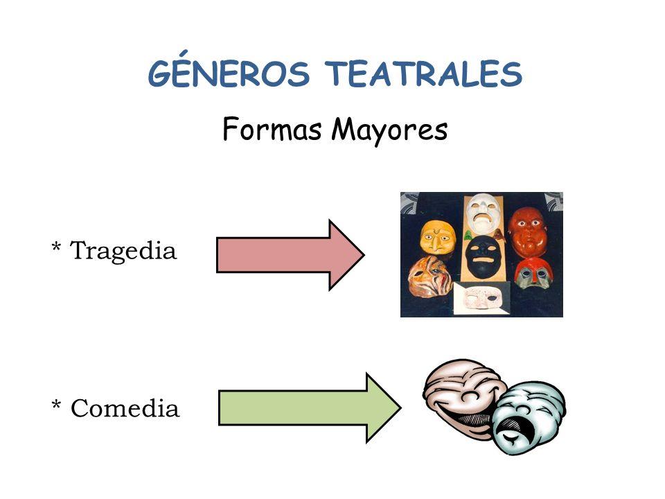GÉNEROS TEATRALES Formas Mayores * Tragedia * Comedia