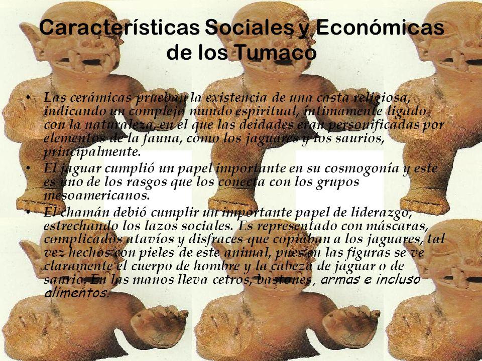 Características Sociales y Económicas de los Tumaco Las cerámicas prueban la existencia de una casta religiosa, indicando un complejo mundo espiritual