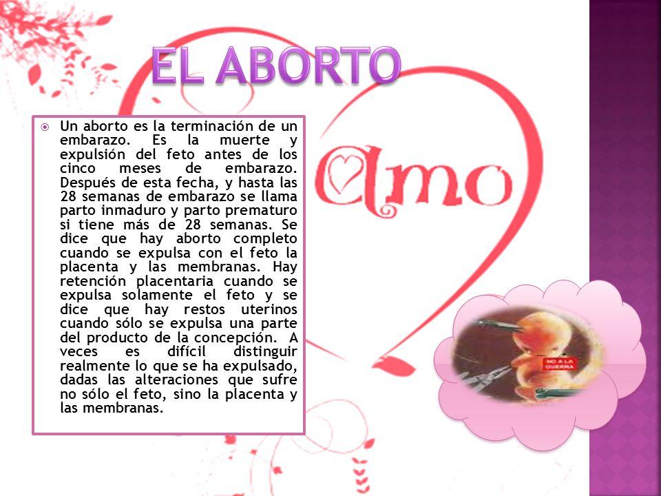 Un aborto es la terminación de un embarazo. Es la muerte y expulsión del feto antes de los cinco meses de embarazo. Después de esta fecha, y hasta las