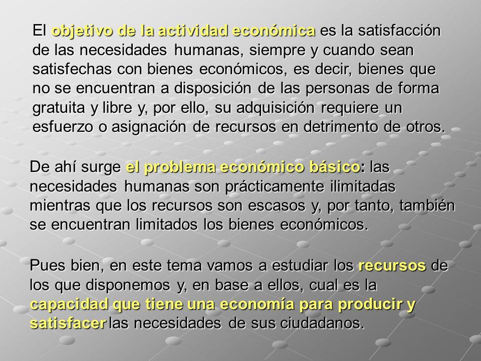 El objetivo de la actividad económica es la satisfacción de las necesidades humanas, siempre y cuando sean satisfechas con bienes económicos, es decir