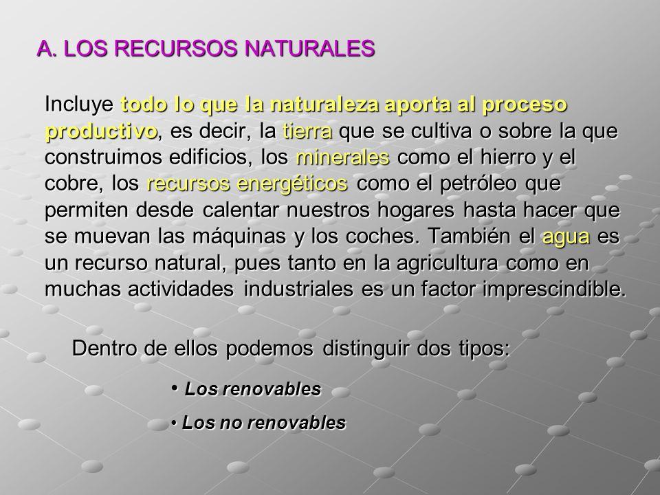 A. LOS RECURSOS NATURALES Incluye todo lo que la naturaleza aporta al proceso productivo, es decir, la tierra que se cultiva o sobre la que construimo