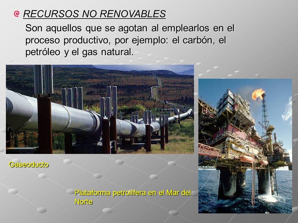 RECURSOS NO RENOVABLES Son aquellos que se agotan al emplearlos en el proceso productivo, por ejemplo: el carbón, el petróleo y el gas natural.