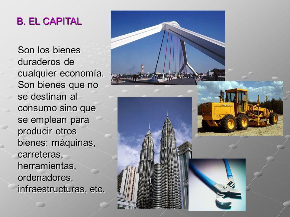 B. EL CAPITAL Son los bienes duraderos de cualquier economía. Son bienes que no se destinan al consumo sino que se emplean para producir otros bienes: