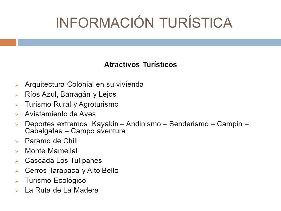 INFORMACIÓN TURÍSTICA Atractivos Turísticos Arquitectura Colonial en su vivienda Ríos Azul, Barragán y Lejos Turismo Rural y Agroturismo Avistamiento de Aves Deportes extremos.
