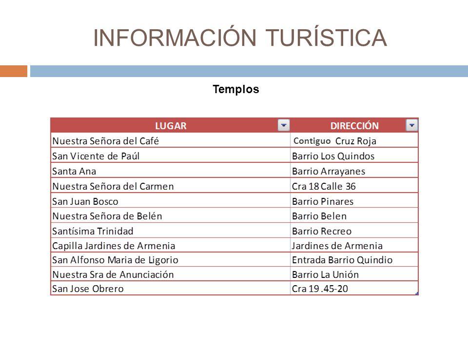 INFORMACIÓN TURÍSTICA Templos z Contiguo