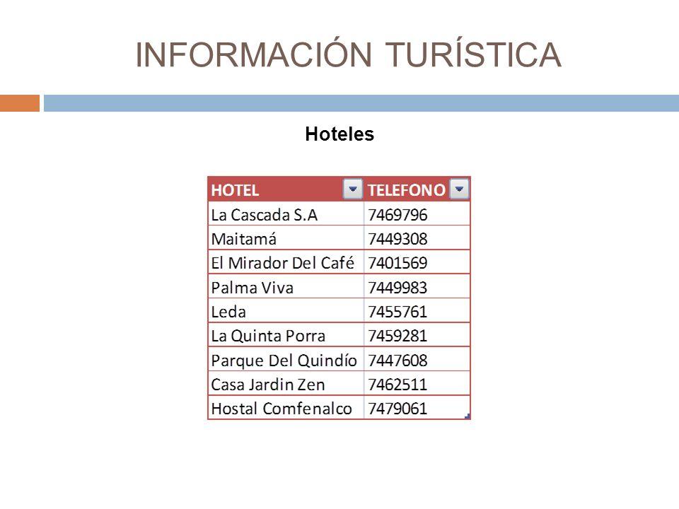 INFORMACIÓN TURÍSTICA Hoteles
