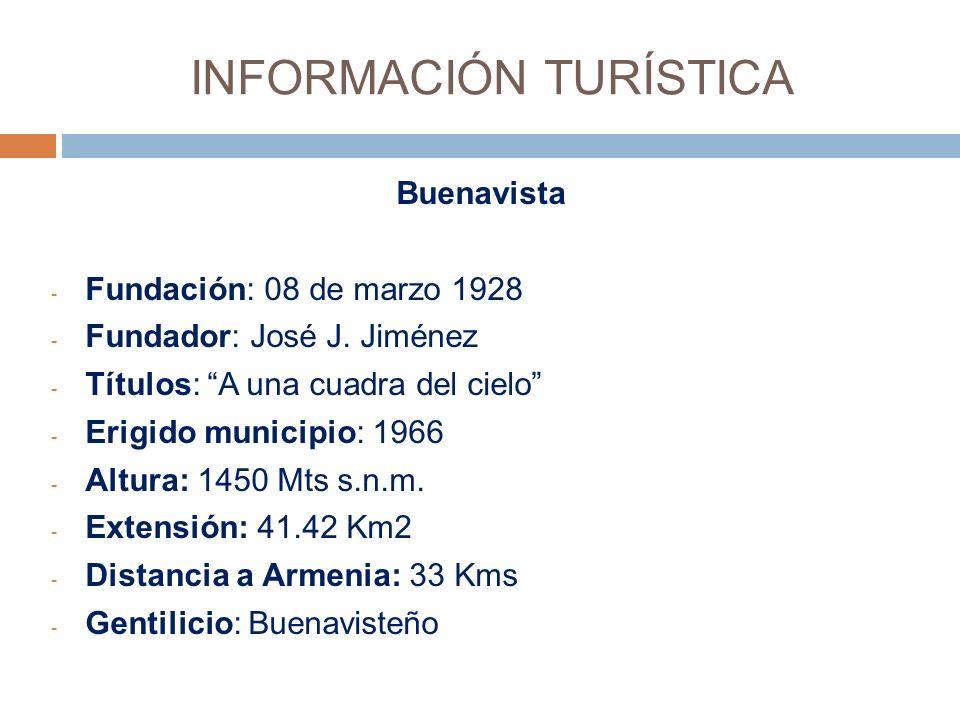 INFORMACIÓN TURÍSTICA Buenavista - Fundación: 08 de marzo 1928 - Fundador: José J.