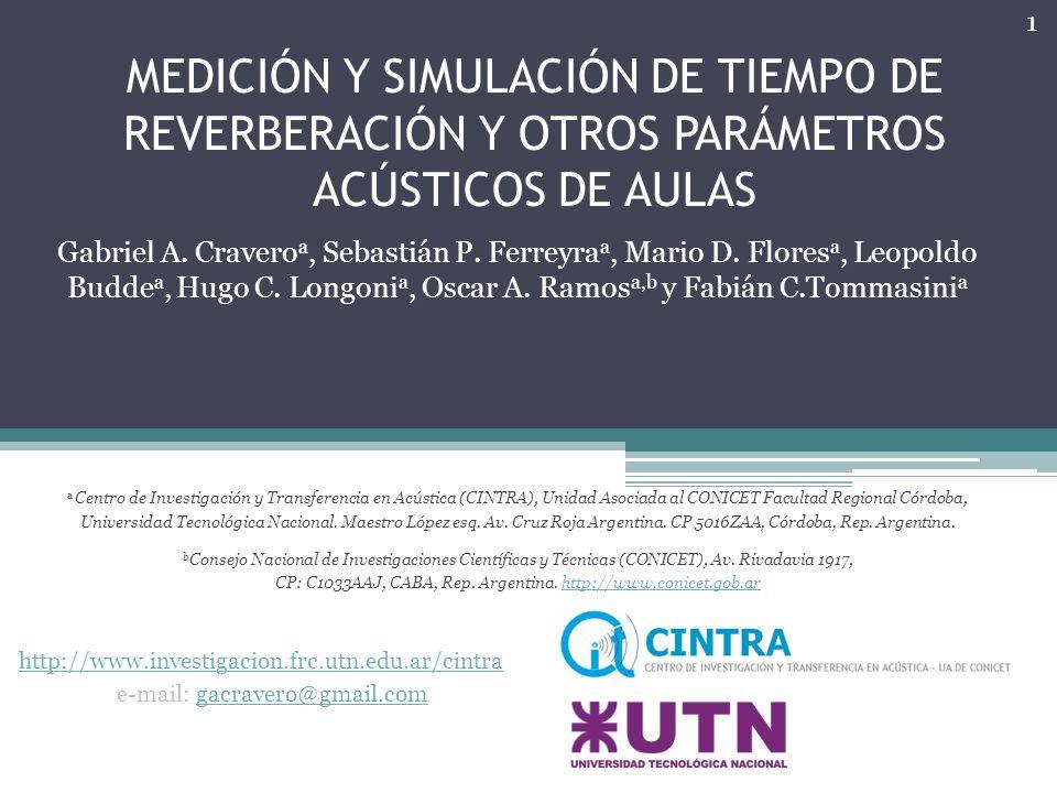 MEDICIÓN Y SIMULACIÓN DE TIEMPO DE REVERBERACIÓN Y OTROS PARÁMETROS ACÚSTICOS DE AULAS Gabriel A.