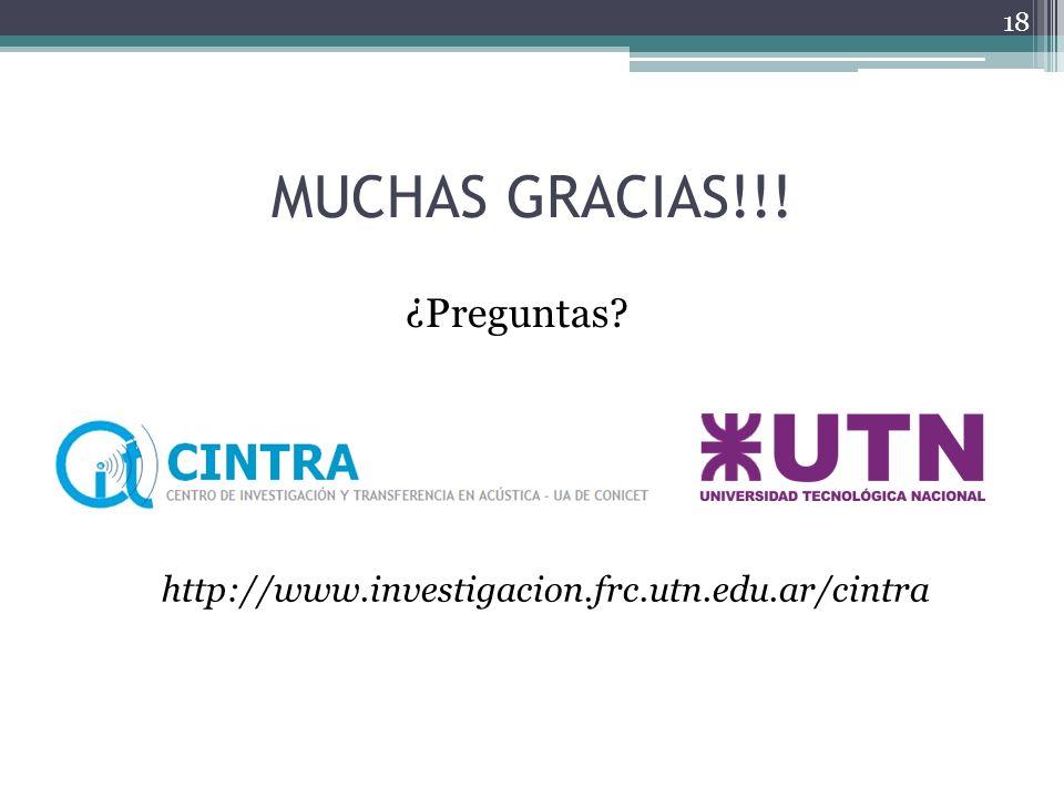 MUCHAS GRACIAS!!! ¿Preguntas? 18 http://www.investigacion.frc.utn.edu.ar/cintra