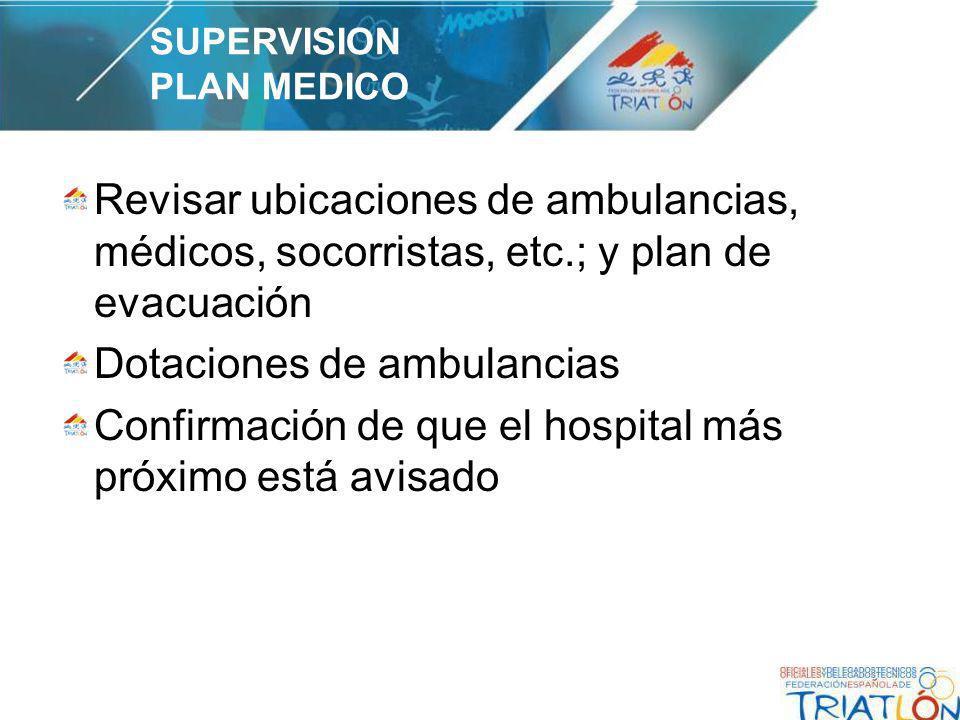Revisar ubicaciones de ambulancias, médicos, socorristas, etc.; y plan de evacuación Dotaciones de ambulancias Confirmación de que el hospital más próximo está avisado SUPERVISION PLAN MEDICO