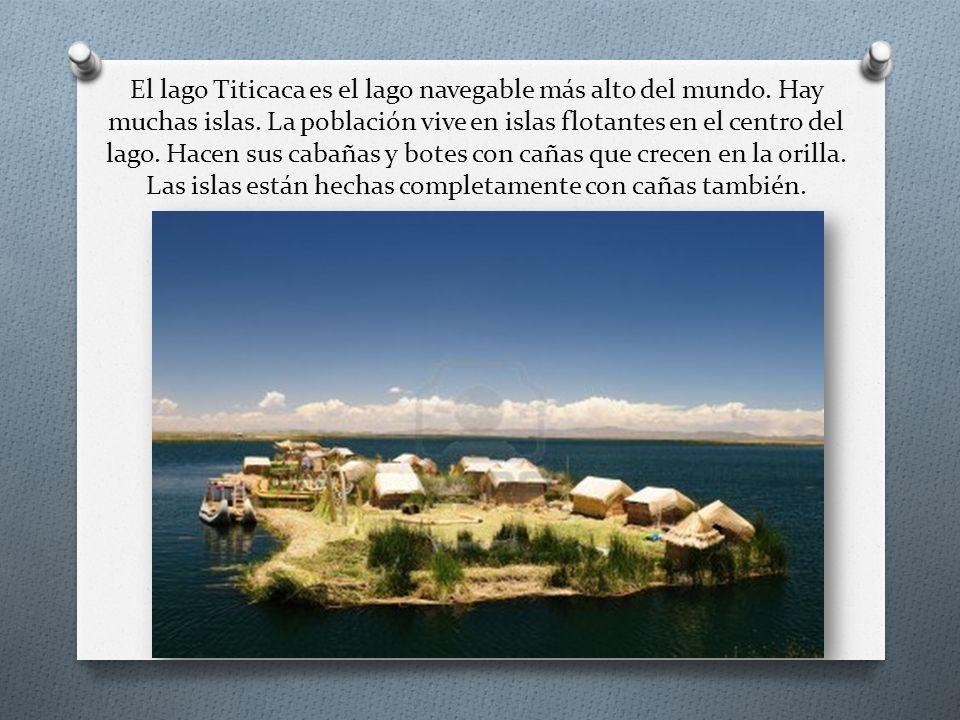 El lago Titicaca es el lago navegable más alto del mundo. Hay muchas islas. La población vive en islas flotantes en el centro del lago. Hacen sus caba