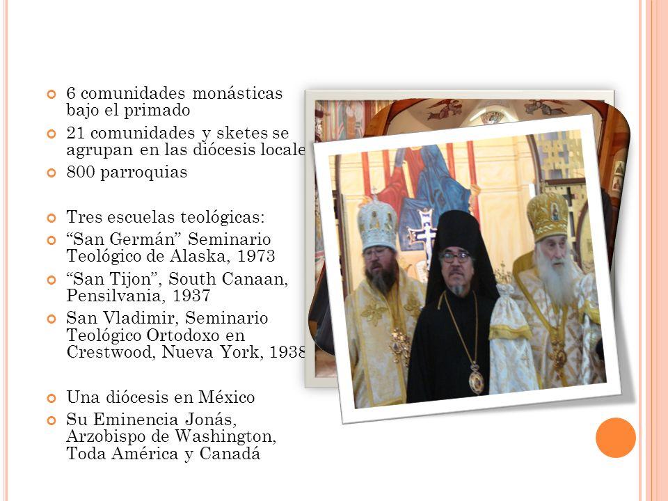 6 comunidades monásticas bajo el primado 21 comunidades y sketes se agrupan en las diócesis locales 800 parroquias Tres escuelas teológicas: San Germá
