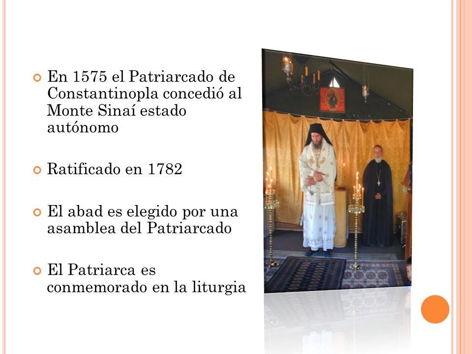 En 1575 el Patriarcado de Constantinopla concedió al Monte Sinaí estado autónomo Ratificado en 1782 El abad es elegido por una asamblea del Patriarcad