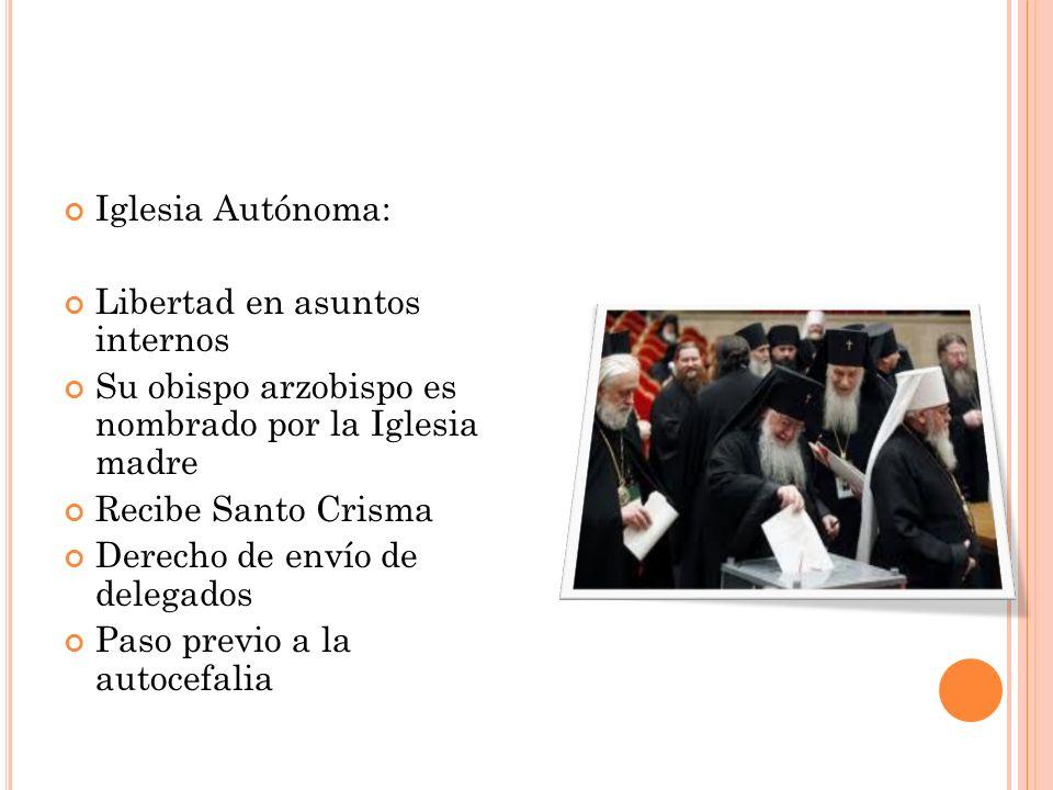 Iglesia Autónoma: Libertad en asuntos internos Su obispo arzobispo es nombrado por la Iglesia madre Recibe Santo Crisma Derecho de envío de delegados
