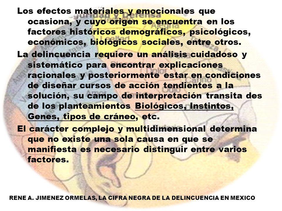 Los efectos materiales y emocionales que ocasiona, y cuyo origen se encuentra en los factores históricos demográficos, psicológicos, económicos, bioló