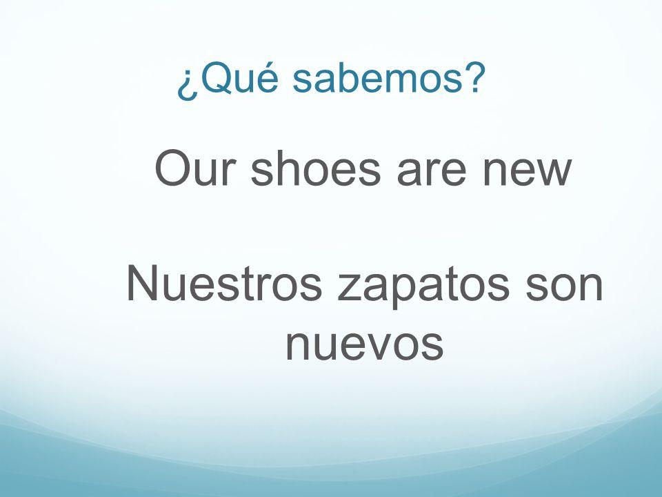 ¿Qué sabemos Our shoes are new Nuestros zapatos son nuevos