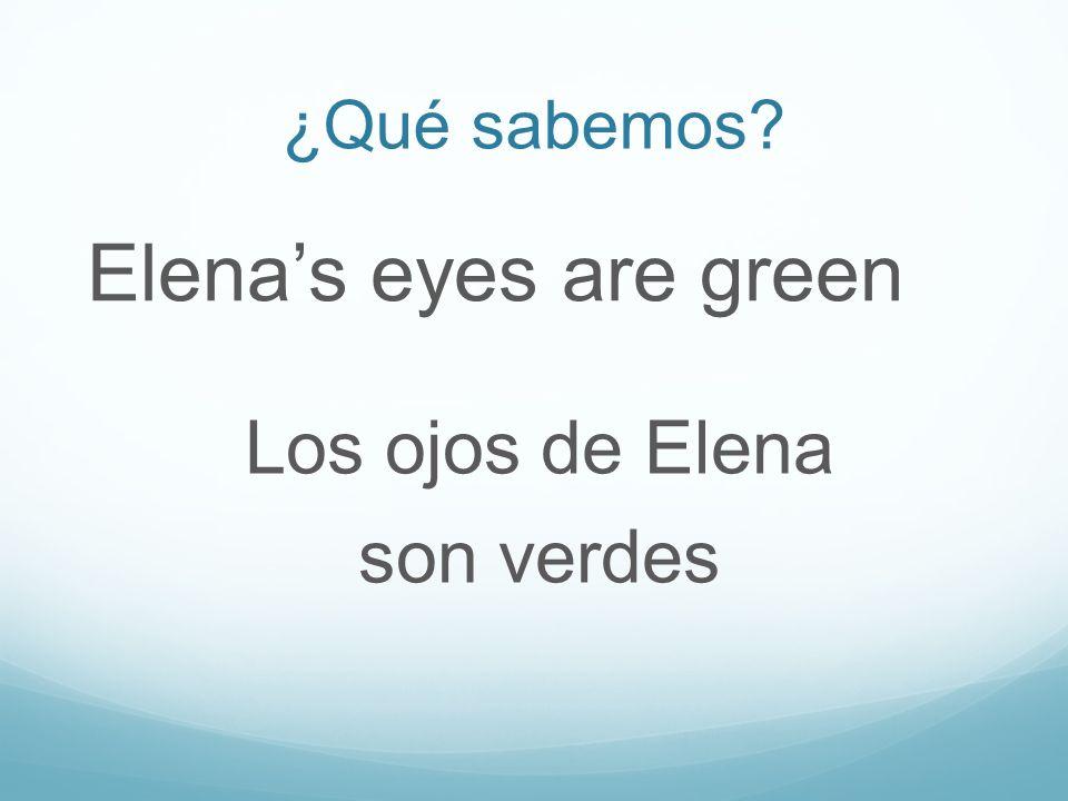 ¿Qué sabemos Elenas eyes are green Los ojos de Elena son verdes