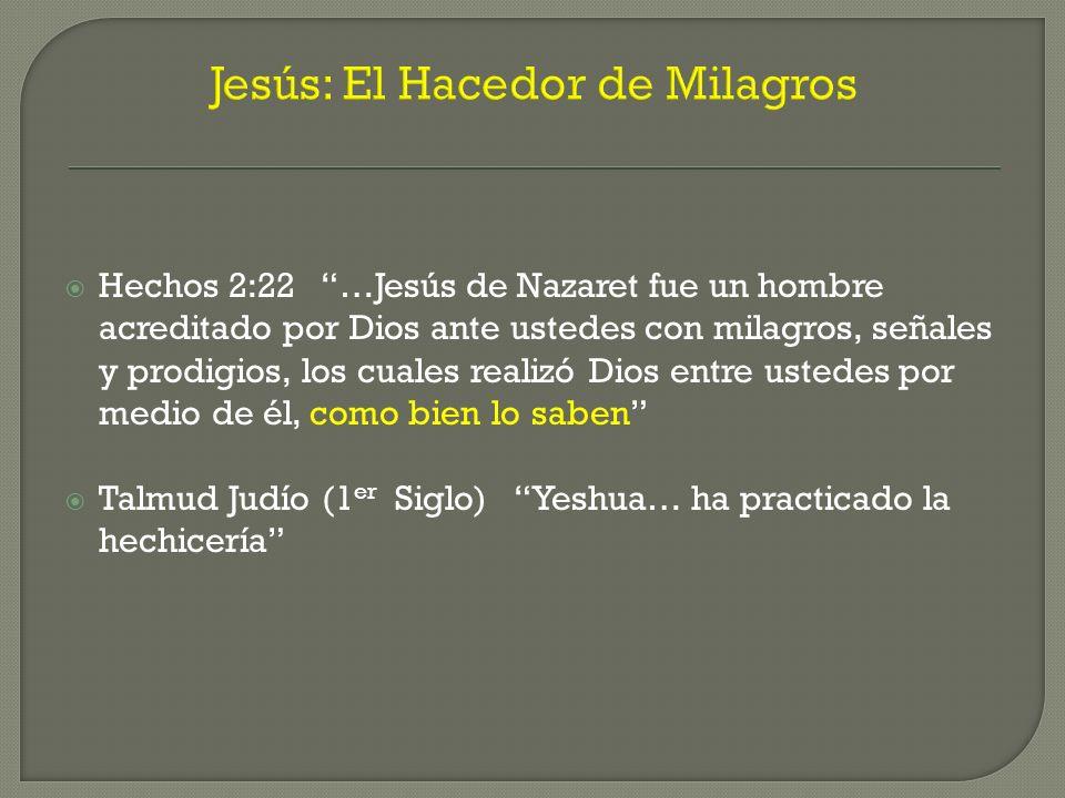 Jesús: El Hacedor de Milagros Hechos 2:22 …Jesús de Nazaret fue un hombre acreditado por Dios ante ustedes con milagros, señales y prodigios, los cual