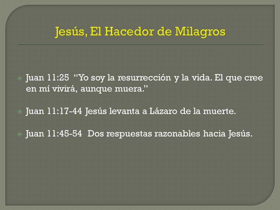 Jesús, El Hacedor de Milagros Juan 11:25 Yo soy la resurrección y la vida. El que cree en mí vivirá, aunque muera. Juan 11:17-44 Jesús levanta a Lázar