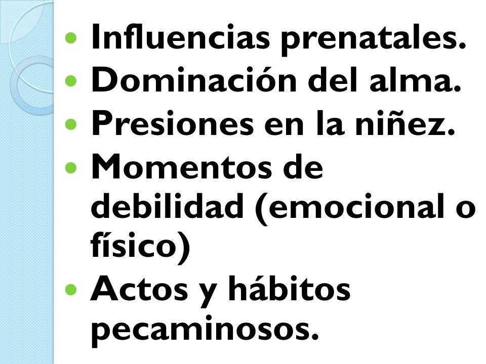 Influencias prenatales. Dominación del alma. Presiones en la niñez. Momentos de debilidad (emocional o físico) Actos y hábitos pecaminosos.