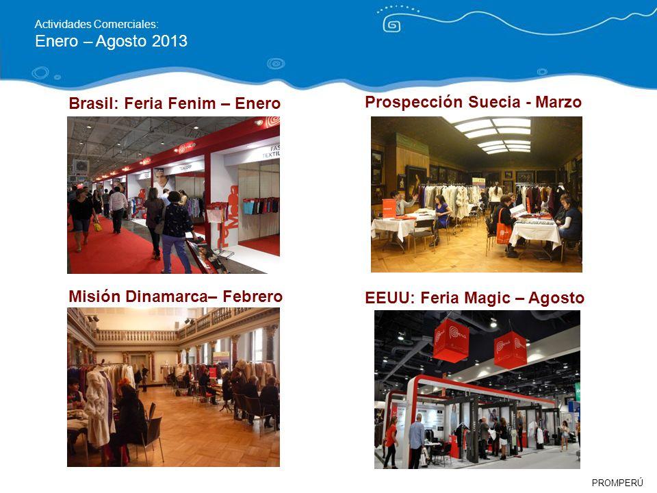 PROMPERÚ Actividades Comerciales: Enero – Agosto 2013 EEUU: Feria Magic – Agosto Misión Dinamarca– Febrero Brasil: Feria Fenim – Enero Prospección Sue