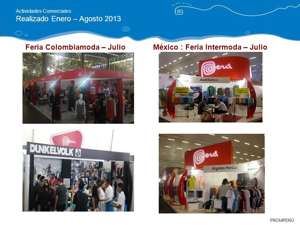 PROMPERÚ Actividades Comerciales: Realizado Enero – Agosto 2013 México : Feria Intermoda – JulioFeria Colombiamoda – Julio