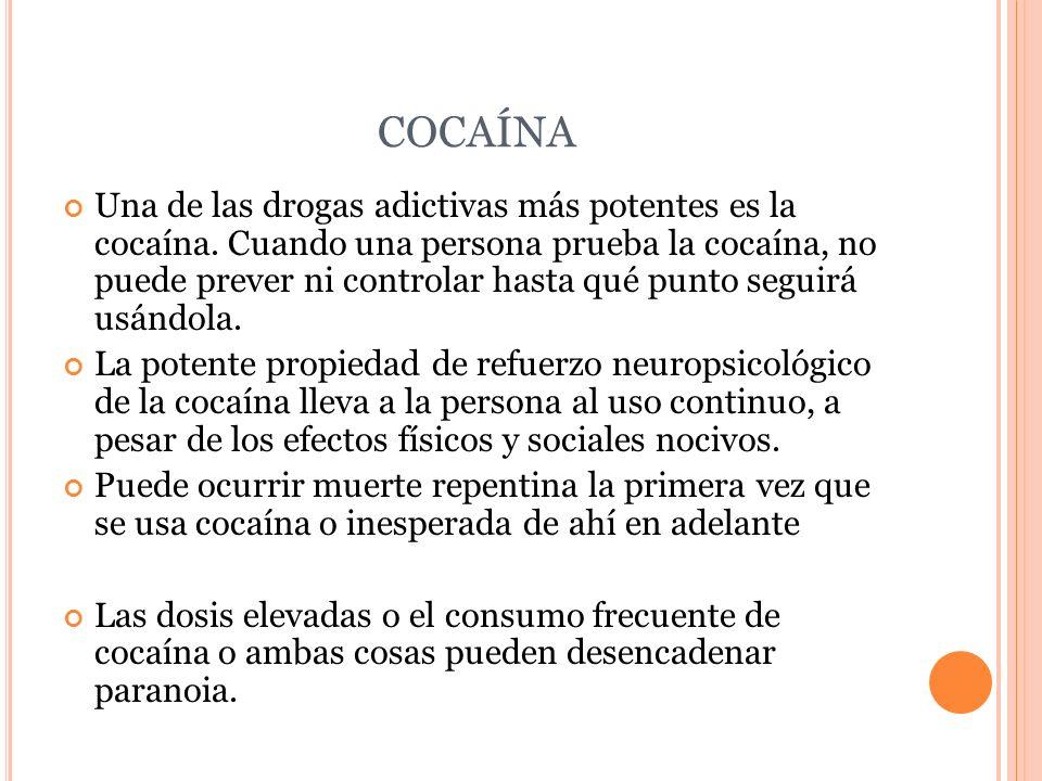 COCAÍNA Una de las drogas adictivas más potentes es la cocaína. Cuando una persona prueba la cocaína, no puede prever ni controlar hasta qué punto seg