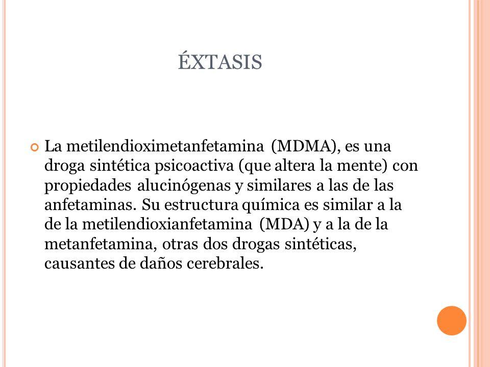 ÉXTASIS La metilendioximetanfetamina (MDMA), es una droga sintética psicoactiva (que altera la mente) con propiedades alucinógenas y similares a las d