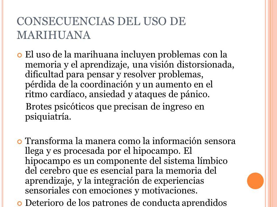 CONSECUENCIAS DEL USO DE MARIHUANA El uso de la marihuana incluyen problemas con la memoria y el aprendizaje, una visión distorsionada, dificultad par