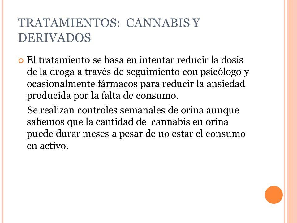 TRATAMIENTOS: CANNABIS Y DERIVADOS El tratamiento se basa en intentar reducir la dosis de la droga a través de seguimiento con psicólogo y ocasionalme