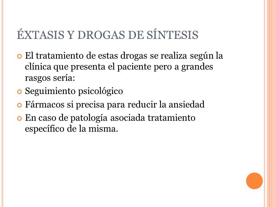 ÉXTASIS Y DROGAS DE SÍNTESIS El tratamiento de estas drogas se realiza según la clínica que presenta el paciente pero a grandes rasgos sería: Seguimie