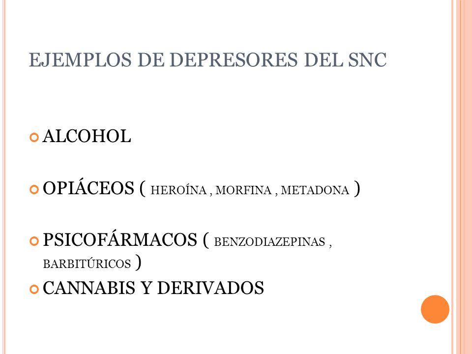 EJEMPLOS DE DEPRESORES DEL SNC ALCOHOL OPIÁCEOS ( HEROÍNA, MORFINA, METADONA ) PSICOFÁRMACOS ( BENZODIAZEPINAS, BARBITÚRICOS ) CANNABIS Y DERIVADOS